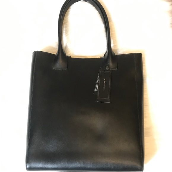 BCBGMaxAzria Handbags - Cleo Tote Black Leather Gold Accents NWT